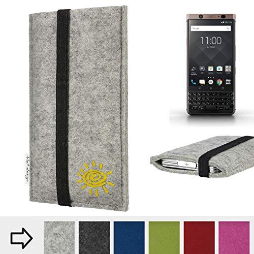 Handyhülle COIMBRA mit Sonne und Gummiband-Verschluss für Blackberry KEYone Bronze Edition - Schutz Case Etui Filz Made in Germany in hellgrau schwarz gelb - passgenaue Handy Tasche für Blackb