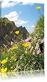 Blumenwiese im Frühling, Format: 120x80 auf Leinwand, XXL riesige Bilder fertig gerahmt mit Keilrahmen, Kunstdruck auf Wandbild mit Rahmen, günstiger als Gemälde oder Ölbild, kein Poster oder Plakat