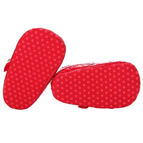 WAYLONGPLUS Baby Mädchen Leder Prewalker weiche Sohle Anti-rutsch Schuhe Rot