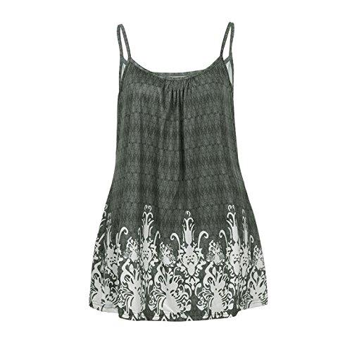 Berimaterry Ärmellos Tank Tops Damen Stretch Riemchen Aufgeweitet Casual Unterhemd Druck T-Shirt Camisole Oberteil