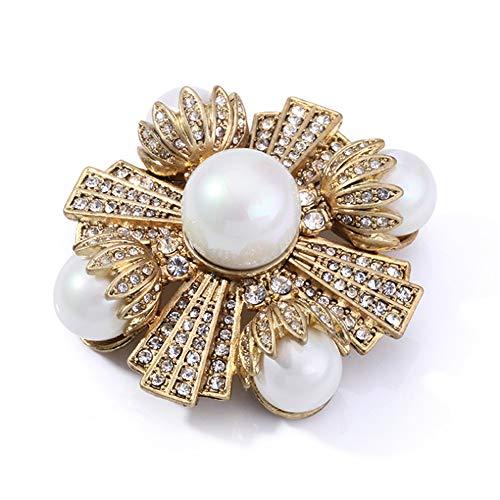 GJF Kristallkreuz und Perlen Broschen für Frauen mit Perle Brosche Pins Hochzeit Broschen Bouquet Kit mit Geschenkbox Gold Farbe