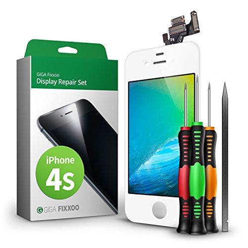 GIGA Fixxoo Display Set kompatibel mit iPhone 4s, Reparaturset Komplett Weiß, Ersatz Bildschirm, Retina LCD Glas mit Touchscreen, inkl. integrierte Frontkamera & Werkzeug (Fällen Iphone 4s)