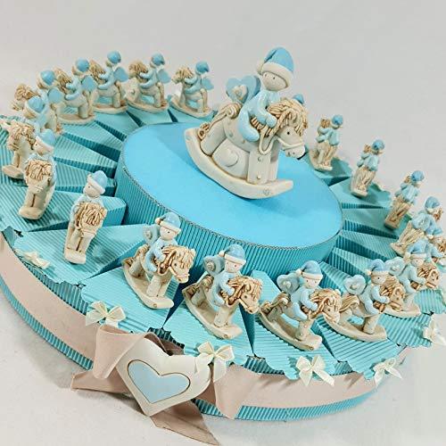Bomboniere battesimo nascita cavalluccio a dondolo bimbo (torta 20 fette + 20 oggetti+1 centrale+confetti azzurri)