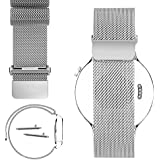 Huawei Watch 18mm Cinturino, PUGO TOP Acciaio Inossidabile Watch Band Strap con Chiusura in ...