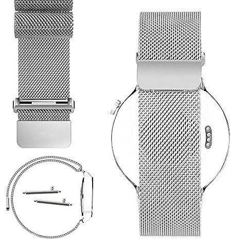 Huawei Watch Band,PUGO TOP 18mm Magnetic Milanese Loop Stainless Steel Magnet Closure Lock Bracelet Strap Band Watch Band For Huawei Watch 2015 (Silver)