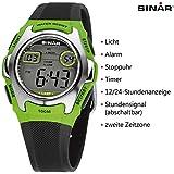 SINAR Jugenduhr Sportuhr Outdoor digital Quarz schwarz grün Silber 10 bar wasserdicht Licht XE-50-3 Vergleich