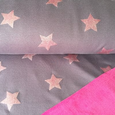 Flecce Tissu–Étoiles Rose–en polaire stretch/Sweat-shirt–Tissu doublé–Cre06Vêtements pour enfants–Couture et tissu–0.5metre de 50cm x