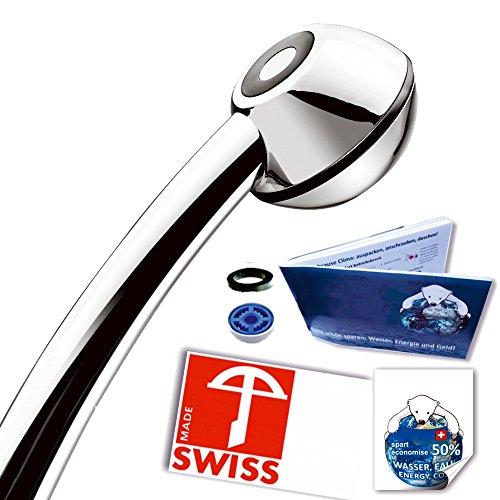 Handbrause drucksteigernd BLACK POWER BESTSELLER: Powerstrahl, verkalkungsfrei, Schweizer Produkt, 1 Wassersparer für 2 Durchflussmengen und 4 Strahl-Varianten, Energieeffizienz B-C