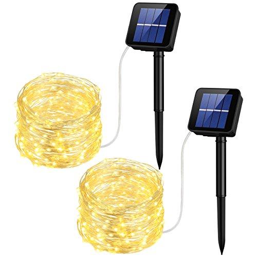 Mpow Solar Lichterkette,10 m 100er LED Warmweiß LED Lichterkette,Wasserdichte Dimmbare Kupfer LED-Beleuchtung für Weinachten, Valentinstag, Hochzeit Fest und Party,2 Stück