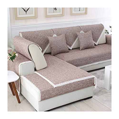 Kswd cotone copridivano, tinta unita copertura divano di spessore antiscivolo copri divano divani tutte le stagioni,brown,70x50cm
