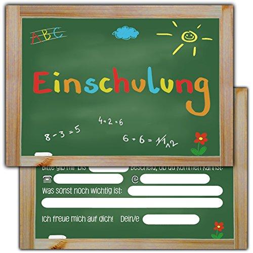 Preisvergleich Produktbild 10 Einladungskarten zur Einschulung // Schulanfang Einladungen Mädchen Jungen Schule Tafel Schuleinführung Schuleingang