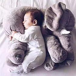 Missley Cute elefante almohada bebé dormir Elephant rellenas almohadas de peluche suave peluche cosas juguetes para adultos (Grey, 60CM)