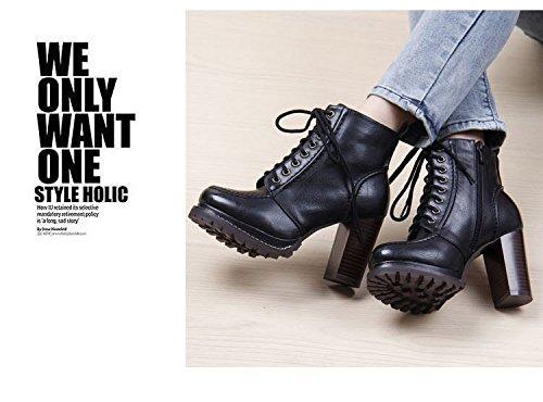 Gaorui Damen Stiefeletten High heels Plattform-Schnür Pumps Motorradschuhe Ankel Boots Braun