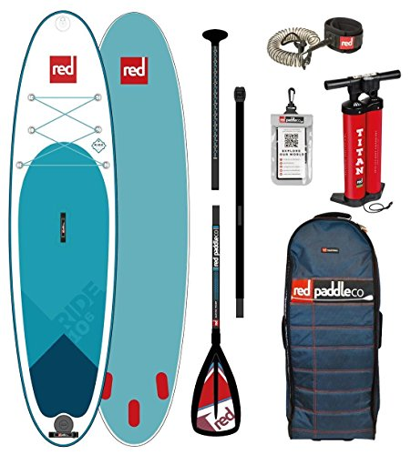 Red Paddle Co 2018 Ride 10\'6 Inflatable Stand Up Paddle Board + Bag, Pump, Paddle & Leash Paddle Option - Alloy 3-Piece