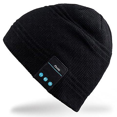Rotibox sans fil Bluetooth Headset Music Beanie femmes hommes hiver tricoté chapeau Trendy Cap avec haut-parleur et annulation de bruit Mic pour Running Sports, Compatible avec Iphone Samsung, les meilleurs cadeaux de Noël - Noir