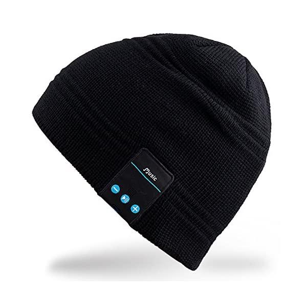 Rotibox-Wireless-Bluetooth-Headset-Music-Beanie-Women-Men-Winter-Knitted-Hat-Trendy-Cap-with-Speaker-Noise-Cancelling-Mic-for-Running-SportsCompatible-with-Iphone-SamsungBest-Christmas-Gifts-Black