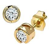 Naava Women's 9 ct Yellow Gold Rub Set Quarter Carat Diamond Earrings