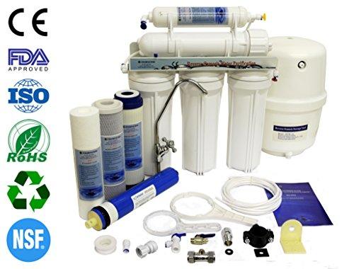 finerfilters Domestic Home Selbsteinbau 5Stufen Umkehrosmose System mit Fluorid Entfernung (50gpd), für die sehr Beste Trinkwasser (Ro Filter Carbon)