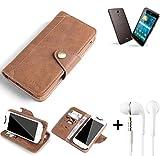 K-S-Trade® Schutzhülle für ACER Liquid Z410 Plus Hülle Tasche Handyhülle Handytasche Wallet Flipcase Cover Handy Tasche Kunsteleder Braun Inkl. in Ear Headphones