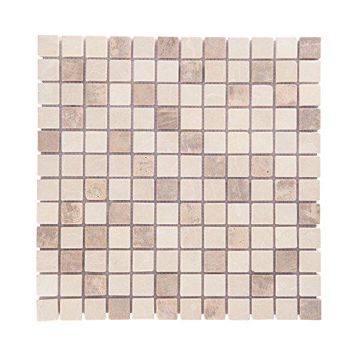 Mosaikfliesen Naturstein 30,5 x 30,5cm 1 QM/11 Stück I Vezzo Ceramica I Serie 20433, Rutschhemmend (Marmor Brown Fliesen)