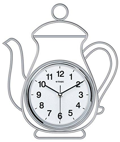 TRABO FP013 Horloge Mur de (Argent Metal 24 cm et 28 cm)
