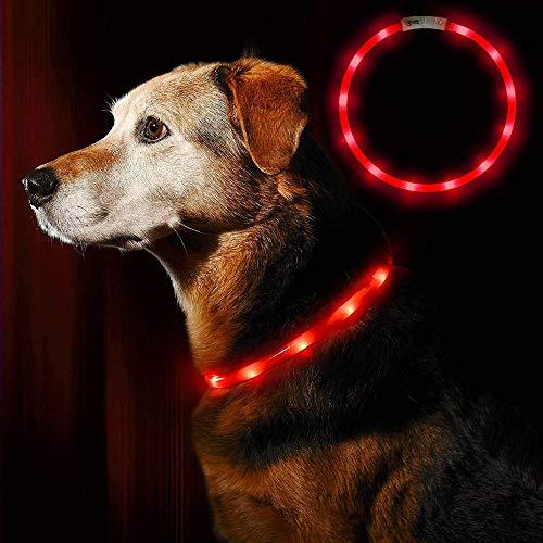 LEANKING Hundehalsband LED Leuchthalsband USB wiederaufladbar Längenverstellbar Klassische Halsbänder (Rot)