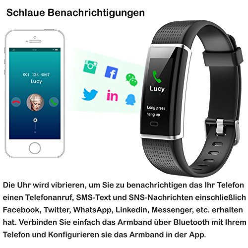 Willful Fitness Armband mit Pulsmesser,Wasserdicht IP68 Fitness Tracker Farbbildschirm Aktivitätstracker Pulsuhren Schrittzähler Uhr Smartwatch für Damen Herren - 6