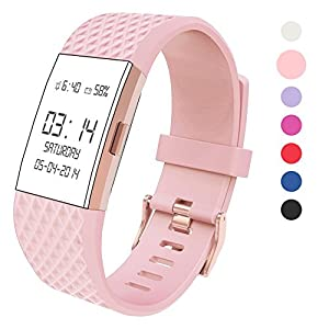 Wearlizer for Fitbit Charge 2 Strap for Women Men, Silicone Replacement Sport Band for Fitbit Charge 2 Fitness Special Edition Lavender Rose Gold
