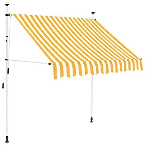fenster markise vidaXL Markise Einziehbar Manuell 150cm Gelb Weiß Sonnenschutz Klemmmarkise