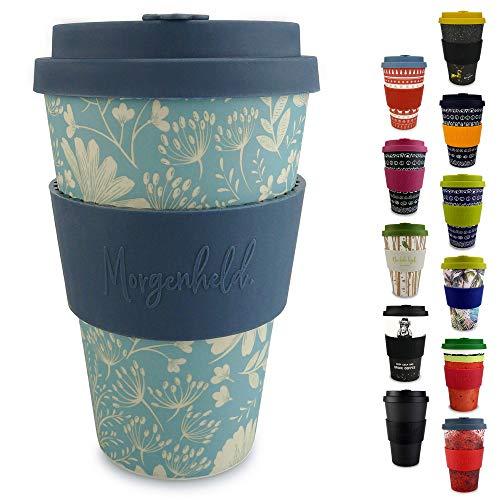 Morgenheld ☀ il tuo bicchiere di bambù alla moda | Coffee-to-Go bicchiere ecologico | bicchiere ecosostenibile con coperchio in silicone e fascetta dal design futuristico da 400 ml