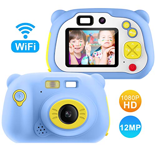 Lightswim Digitale Kamera für Kinder Robuste HD Kinderkamera 2,0 Zoll Farbdisplay 1200 Megapixel 1080p Videokamera mit 16 GB Speicherkarte und USB Kabel (blau)