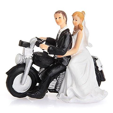 LinTimes Décoration de Gâteau de Mariage Couple Figurine en Résine Cake Quitter par Moto