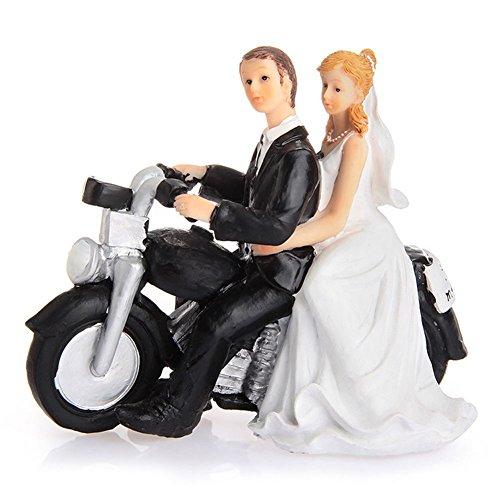 LinTimes Décoration de Gâteau de Mariage Couple Figurine en Résine Cake Quitter par Moto 13.5*5.5*12cm