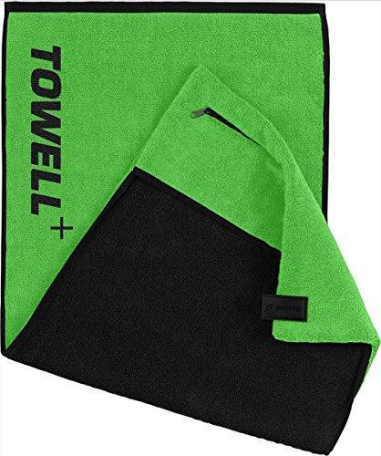 STRYVE Towell plus V2 Sporthandtuch mit Tasche und Magnetclip, in 7 Farben Die Höhle der Löwen (Neon Grün) Gym Handtuch TOWELL+ Neon-blaue Sachen