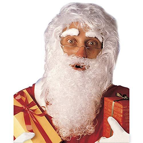 Preisvergleich Produktbild WIDMANN 1518S Weihnachtsmann Perücke mit maxi Bart,  Schnurrbart und Augenbrauen,  weiß