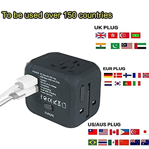 Cube Plug,New Universal Travel USB Adapter Travel Chargers Adapters for Uk/EU/US/AU about 150 Countries Wall Universal Power Plug Adapter Charger with Dual USB and Safety Fuse
