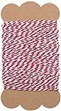 100% Mosel Schnur Rot Weiß | 2 mm stark | 20 m Bastelschnur | Bakers Twine | Baumwollschnur | Geschenkband | Dekokordel