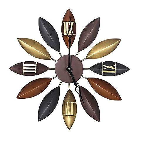 Kklock Horloge murale Mute Soleil Mouvement Leap Second Slient pour le salon Chambre à coucher de cuisine pile AA Mini simples Feuilles coloré avec chiffres romains en métal 53,3cm (batterie non inclus)