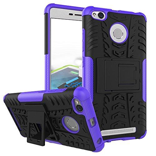 YHUISEN Hybrid Neue Dual Layer-Rüstungs-Kasten Abnehmbare Hinterbauständer 2 in 1 Stoß- Tough Rugged Case für Xiaomi Redmi 3S / 3 Pro ( Color : Black , Size : Xiaomi Redmi 3S ) Purple
