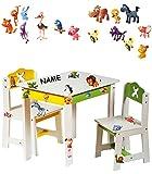 Unbekannt 3 TLG. Set: Sitzgruppe für Kinder - aus sehr stabilen Holz - weiß -  lustige Zootiere  - incl. Name - Tisch + 2 Stühle / Kindermöbel für Jungen & Mädchen - ..