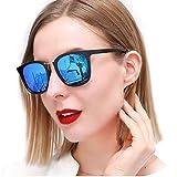 SIPHEW Sonnenbrille Damen Polarisiert, Verspiegelt Groß Form in Blau Aus Kunststoff und Metall, 100% UVA/UVB Schutz (Blau)