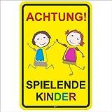 Hinweis-Schild Achtung spielende Kinder I Größe 40 x 60 cm I Straßen-Warnschild Spielstraße Spielplatz I Vorsicht Kids langsam fahren I hin_399