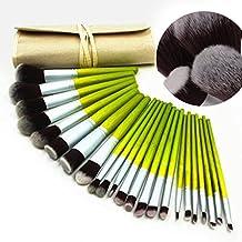tinabless 23pcs Juego de mango de madera de bambú de pincel de maquillaje profesional kit de brochas con estuche de lona