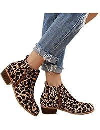 7ea39972fe26 Boots Femme Talon Bottine Femmes Hiver Daim Cuir Bottes Chelsea Low Chic  Cheville Compensées Grande Taille Chaussures 3cm Bleu…