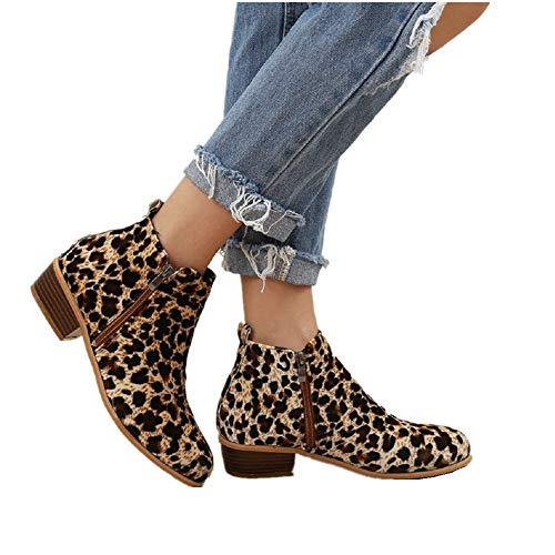 Boots Femme Talon Bottine Femmes Hiver Daim Cuir Bottes Chelsea Low Chic Cheville Compensées Grande Taille Chaussures 3cm Bleu Marron Noir 35-43 LP43