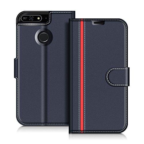 COODIO Honor 7A Hülle Leder, Huawei Y6 2018 Lederhülle Ledertasche Wallet Handyhülle Tasche Schutzhülle mit Magnetverschluss/Kartenfächer für Honor 7A / Huawei Y6 2018, Dunkel Blau/Rot