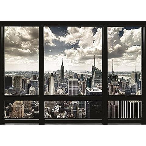 Poster GIGANTE de PAPEL. Nueva York, emula la vista desde una ventana. Medidas aprox. 140 x 100 cm.