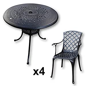 80cm Anna Table and 4 Emma SA Chairs