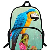 VEEWOW 16-Inch Animal Pattern Backpack for Kids School Parrot Bag for Teens Girls Boys (D967)