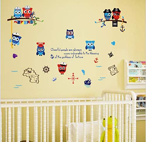 Pirate Owl Kinderzimmer Schlafzimmer Konsole Kabinett Kindergarten Klassenzimmer Wandaufkleber 50 * 70 Cm